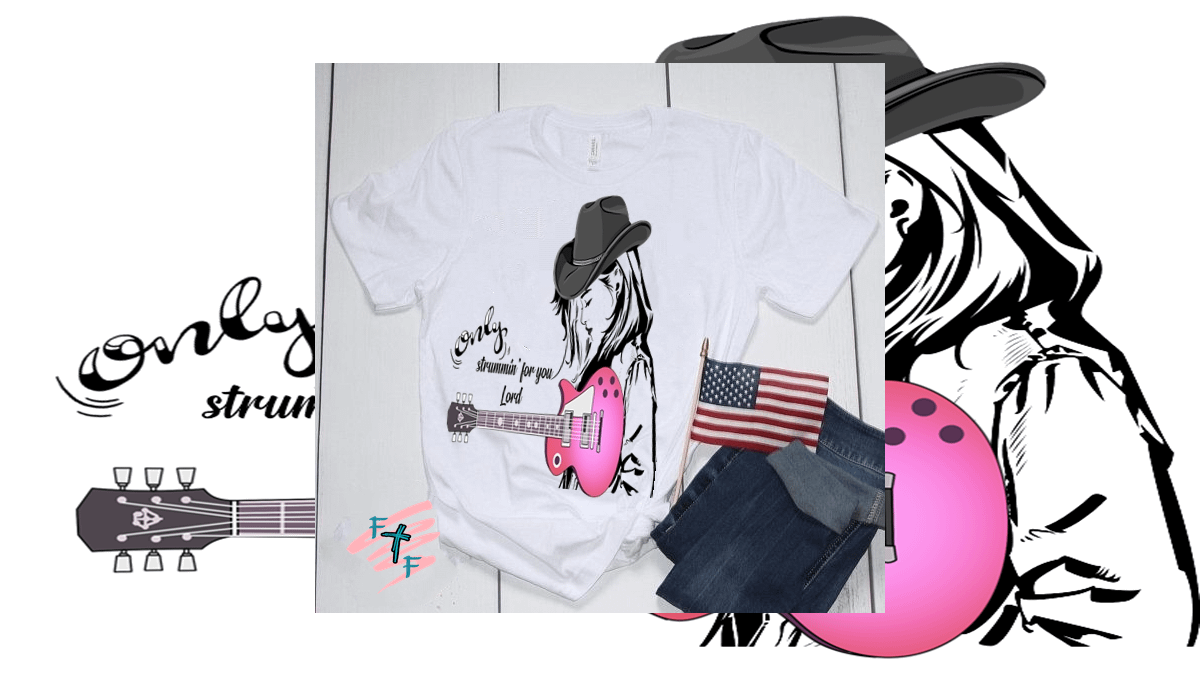 Illustration Country Girl Guitarist