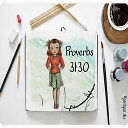 Painting and Illustration Vintage Girl of Faith