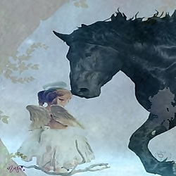 Angel and Horse Painting