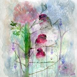 Birds Perched Watercolor